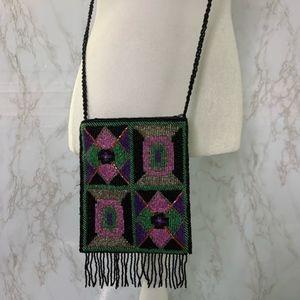 Vintage Ermo Beaded crossbody bag purse tribal